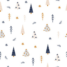 Seamless Pattern With Christmas Tree. Cute Holiday Print. Vector Hand Drawn Illustration.