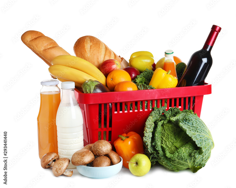 Fototapety, obrazy: Shopping basket and grocery products on white background