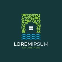 Green House Logo Design Vector Template