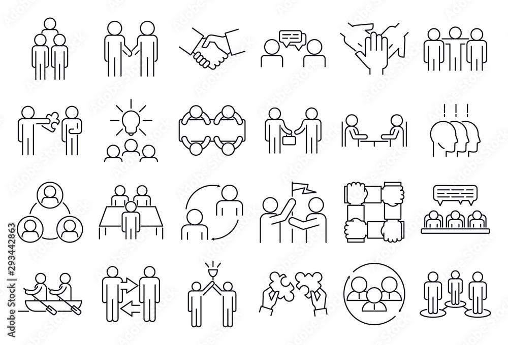 Fototapeta Business cooperation icons set. Outline set of business cooperation vector icons for web design isolated on white background