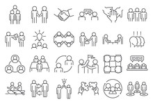 Business Cooperation Icons Set...