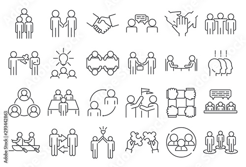 Fotomural Business cooperation icons set