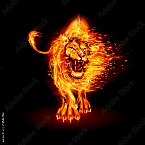 Abstract Illustration of Infuriated Lion with Fire Flames Fur in Orange Color on Wallpaper Mural