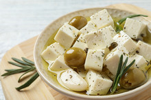 Pickled Feta Cheese In Bowl On...