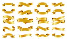 Gold Ribbon Text Banner Flat T...