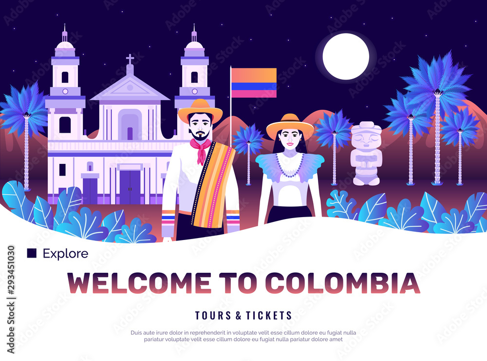 Fototapety, obrazy: Colombia Tourism Poster