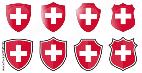Fotografie, Obraz Switzerland flag in shield shape, four 3d and simple versions