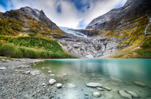 Melting Jostedalsbreen Glacier In Norway - October 2019