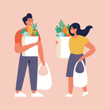 Vector Illustration Couple Of Young People Carrying Eco Bags With Purchases. Caring For The Environment. Eco Grocery Shopping.