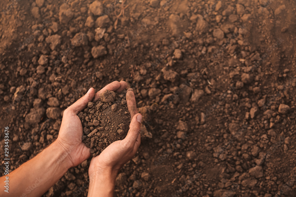 Fototapeta Male farmer with heap of soil in field, top view
