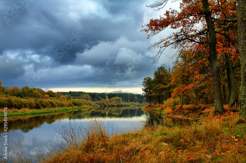 Orange autumn trees on riverbank. Golden Autumn Landscape Canvas Print