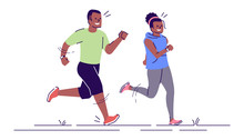 Man And Woman On Running Training Flat Vector Illustration. Sport Activity. Jogging Couple. Sprinting African American Boy, Girl Isolated Cartoon Characters With Outline Elements On White Background