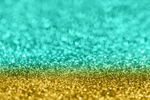 Abstract Composition. Turqupose And Golden Glitter Light Background With Beautiful Bokeh, Selective Focus, Shallow Depth Of Field