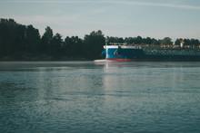 Cargo Ship Sailing On The Neva...