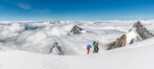 Switzerland, Western Bernese Alps, Mountaineers In Balmhorn Region