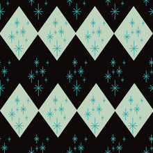 Atomic Era Diamond Seamless Pattern With Starbursts. Mid Century Inspired Design In Black, Mint Green And Blue. Great For Party Decorations, Graphic Design, Textiles, Wallpaper, Fashion Accessories.