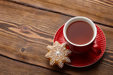 Cup Of Tea With Christmas Gingerbread Cookie