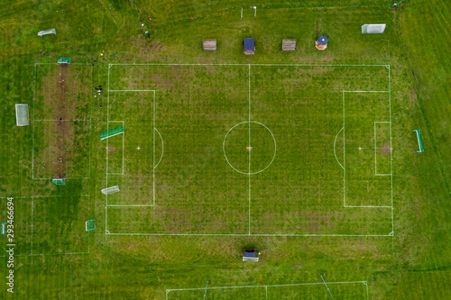 A football field in Gamleby in southeastern Sweden in summer