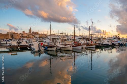 Porto di Alghero al tramonto 01 Canvas Print