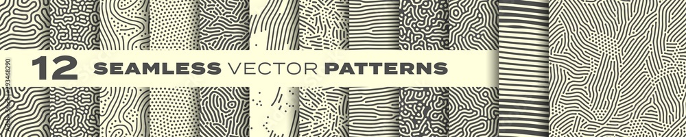 Fototapeta Seamless patterns vector set, abstract organic lines backgrounds. Creative design biological patterns with memphis dots and irregular squiggle line shape texture