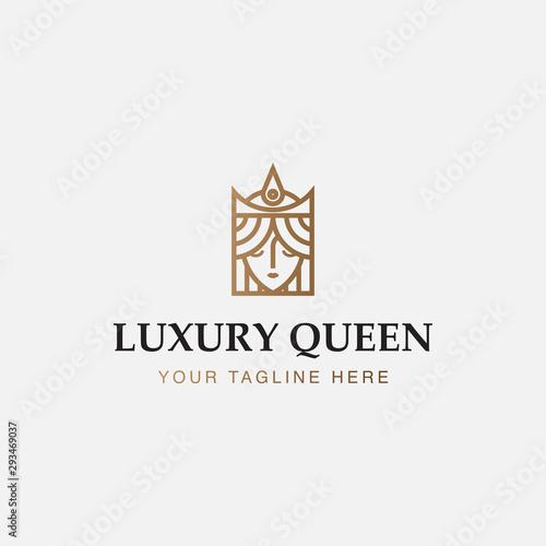 Fototapeta icon logo minimalist of  luxury queen