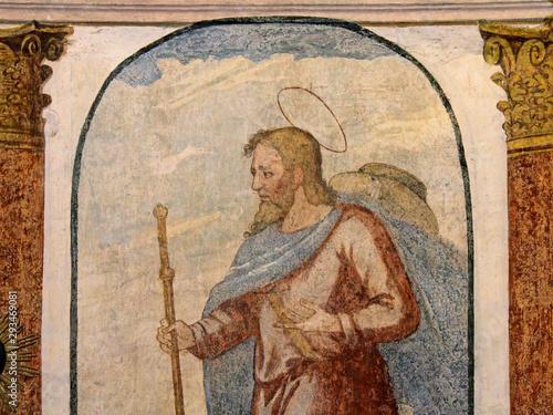 San Giacomo Maggiore; affresco nel Santuario di San Romedio in Val di Non, Trent Wallpaper Mural