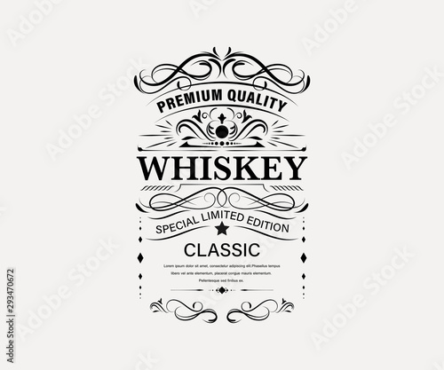 Fototapety, obrazy: Vintage premium whiskey label banner badges set. Luxury decoration design. Collection banner.
