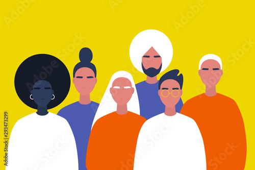 Fototapeta Community. Collaboration. A group of young people. Diversity. Modern millennial lifestyle. Flat editable vector illustration, clip art obraz