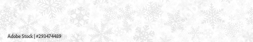 Obraz Christmas horizontal seamless banner of many layers of snowflakes of different shapes, sizes and transparency. Light gray on white - fototapety do salonu