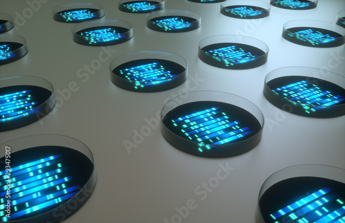 blue glowing dna code in round petri dishes Fototapet