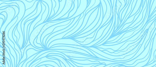 Foto auf AluDibond Licht blau Monochrome wallpaper. Background with lines. Hand drawn abstract texture. Wavy line pattern