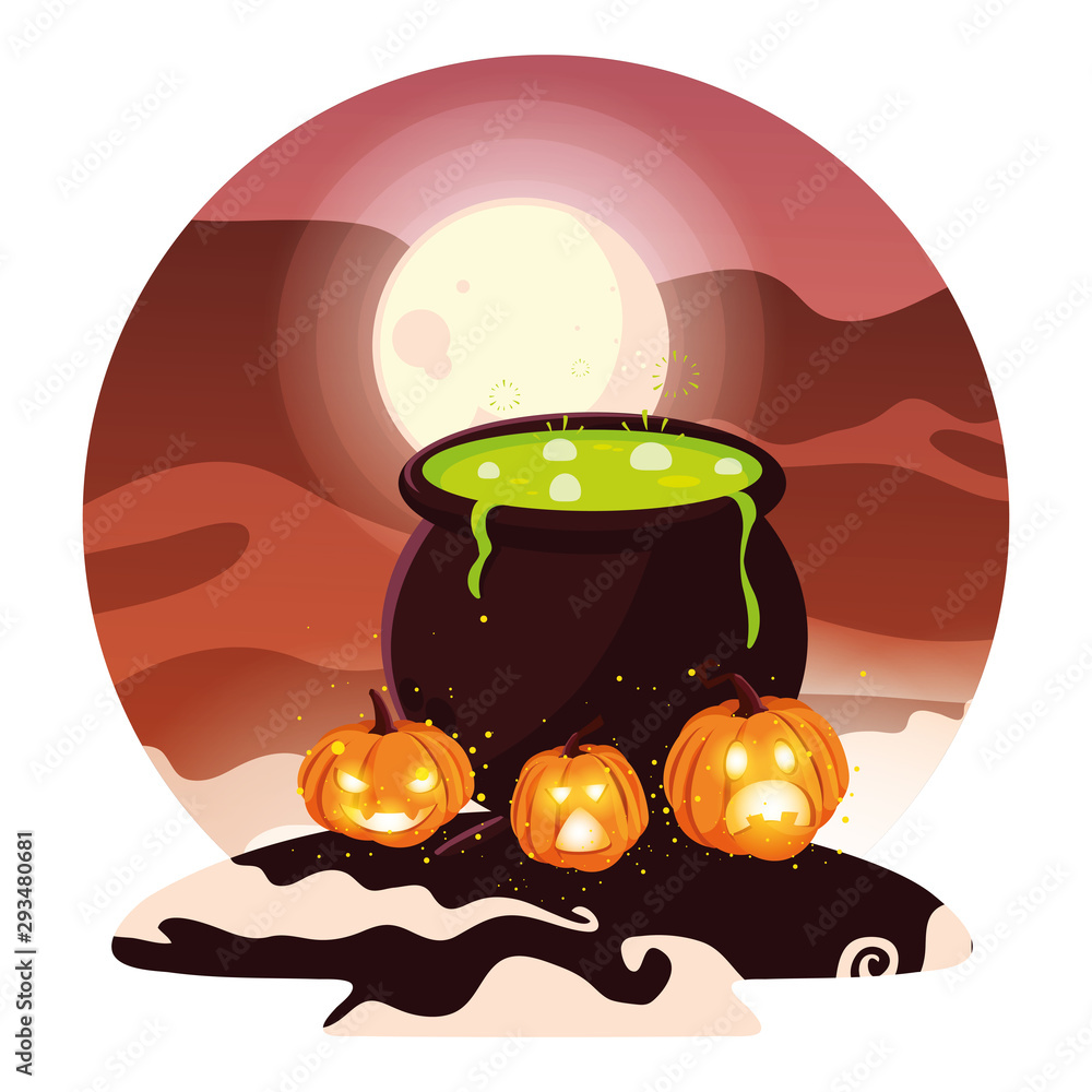 Fototapety, obrazy: Halloween bowl with pumpkins vector design icon