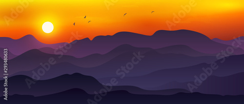 Illustration of vast mountain landscape combined with moon/sun, Orange sky and flying birds.