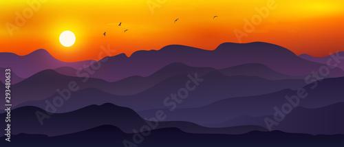 Spoed Foto op Canvas Aubergine Illustration of vast mountain landscape combined with moon/sun, Orange sky and flying birds.