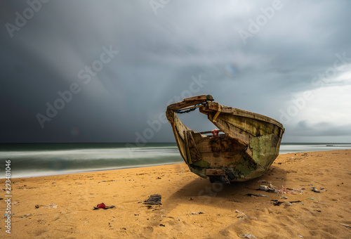 Poster de jardin Taupe A private beach located along the Badagry Creek. Lagos Nigeria.