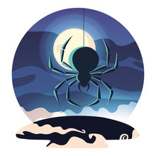 Halloween Spider Vector Design...