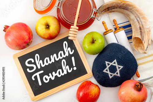 Fotografie, Obraz Happy Rosh Hashanah conceptual idea with shofar (ram horn), apple, pomegranate,