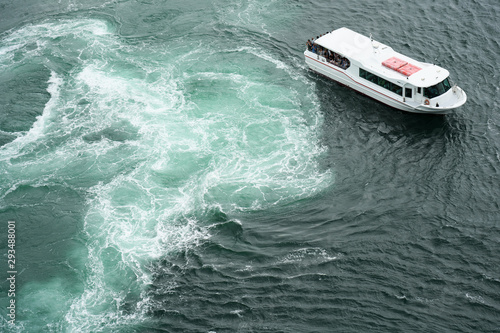 Naruto,Japan-September 28, 2019: The world largest whirlpools in Naruto Channel Canvas Print