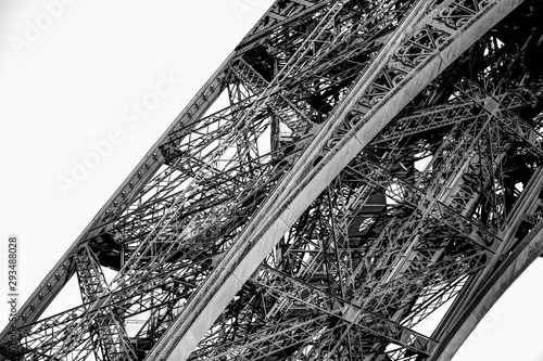 Architectural details of the Eiffel Tower in Paris