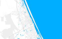 Rich Detailed Vector Map Of Daytona Beach, Florida, USA