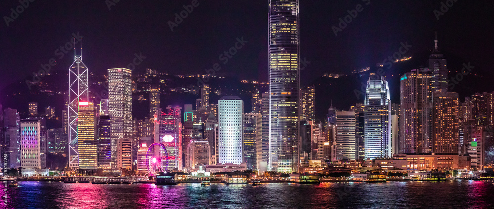 Fototapeta Iconic Hong Kong Night View, Victoria Harbour