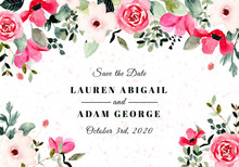 Save The Date With Pink Floral Watercolor Frame