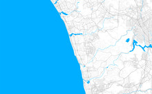 Rich Detailed Vector Map Of Encinitas, California, USA