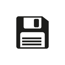 Diskette Black Icon Save Button, Vector Illustration