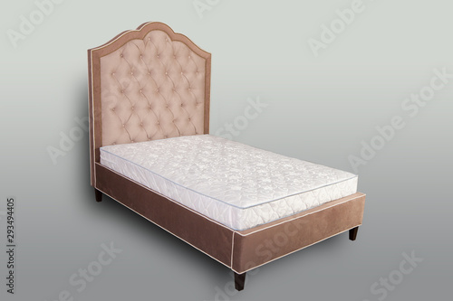 Double bed with soft back and base. Comfortable bedroom furniture.