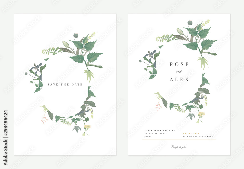 Fototapeta Flowers and foliage wedding invitation card template design, oval frame decorated with various green leaves and flowers on white
