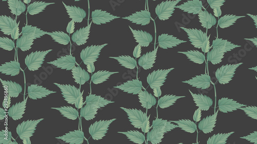 Foliage seamless pattern, green leaves on dark grey, pastel vintage theme