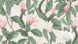 Kwiatowy wzór, różowe i białe kwiaty magnolii anyżu i liście na jasnobrązowym, pastelowym temacie vintage - 293497209