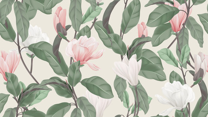 Floral seamless pattern, pink and white Anise magnolia flowers and leaves on ...