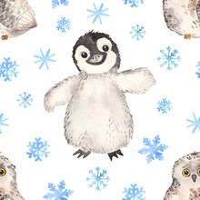 Watercolor Seamless Pattern Cute Little Arctic Penguin And Owl